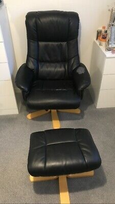 £0.01 • Buy Reclining Faux Leather Chair And Foot Stool - Black