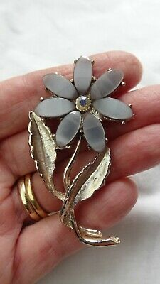 £10 • Buy Vintage Thermoset Flower Brooch, Pale Blue With Centre Rhinestone