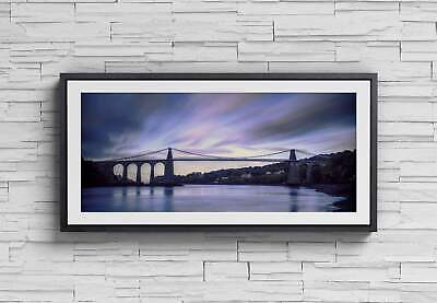 £12.99 • Buy Panoramic Welsh Prints Of The Menai Suspension Bridge, Anglesey Prints For Sale,