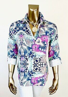 $38.99 • Buy Chico's $107 Nwt 100% Linen Size-0 No-iron Majestic Floral Roll Tab Shirt (s-4)