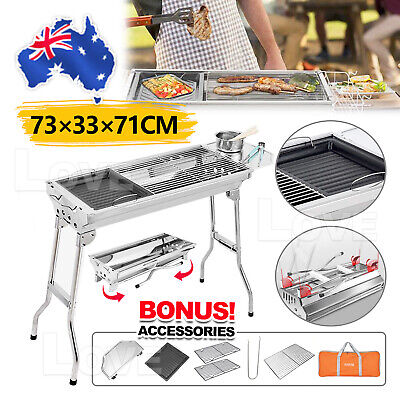 AU58.95 • Buy Folding Stainless Steel Bbq Barbecue Grill Stove Charcoal Picnic Camping