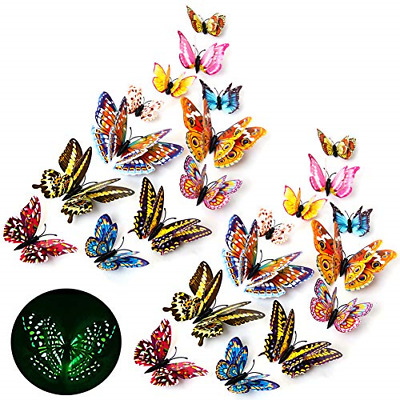 AU12.99 • Buy 24Pcs Butterfly Wall Stickers 3D Luminous Art Decals Home Room Decorations