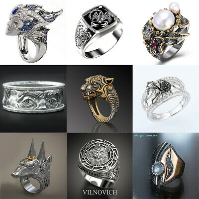£1.80 • Buy Fashion Viking Silver Ring For Men Punk Party Hip Hop Jewelry Gift Size 7-13
