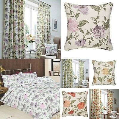 £25 • Buy Felicity Floral 100% Cotton Curtains/lined Matching Bedspreads Ideal For Caravan