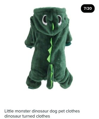 £1 • Buy Dog Clothes Little Green Dinosaur Outfit Birthday/Halloween *XS-SML 14/15  Chest