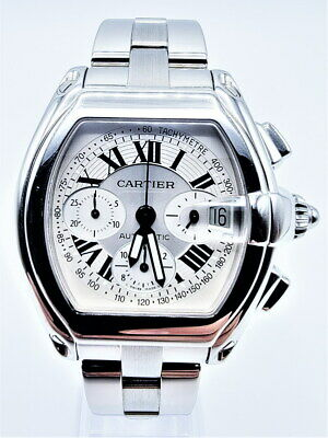$4979 • Buy Cartier Roadster XL Stainless Steel Silver Chronograph W62006X6 Date Watch 2618
