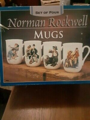 $ CDN12.45 • Buy Norman Rockwell Museum Collection Coffee Mugs Cups Set Of 4 In Box