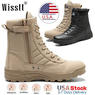 $36.99 • Buy Men's Army Military Combat Ankle Boots SWAT Shoes Canvas Survival Tactical Shoes