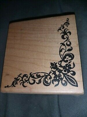 £1.50 • Buy Personal Impressions Flowered Corner Wooden Mounted Rubber Stamps