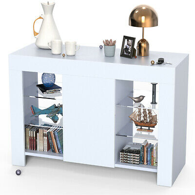 £82.09 • Buy Cabinet Cupboard Sideboard TV Unit Matt Body And High Gloss Doors With LED Light