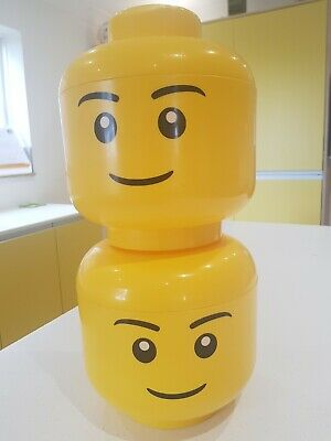 £16 • Buy 2 Large Lego Head Storage Containers 28cm Tall Great Condition