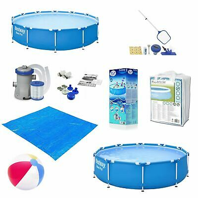 £31 • Buy Swimming Pool 10FT Or 12FT Metal Frame With Filter Pump Cleaning Kit Pool Cover