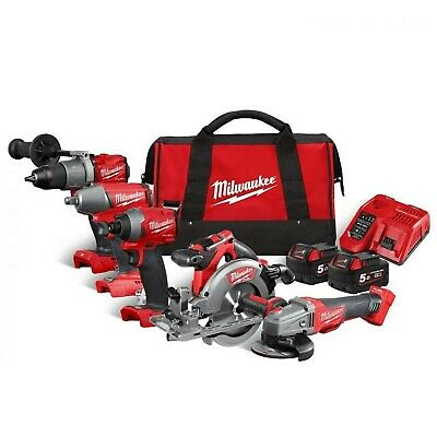 £726.57 • Buy Milwaukee M18FPP5M-502B 18v 5 Piece FUEL Cordless Tool Kit In Carrying Bag