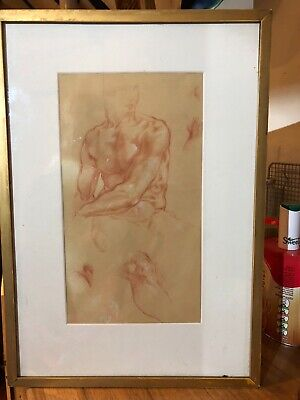 £150 • Buy A Sanguin Antique Drawing Of A Male Torso In Narrow Gilt Frame