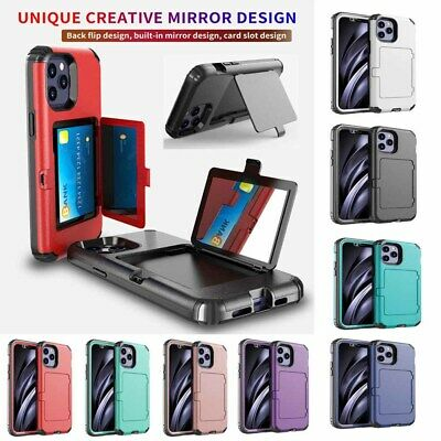 AU7.99 • Buy Premium Bumper Case With Card Holder Built-in Mirror Protective Case For IPhone