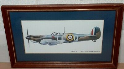 £25 • Buy Spitfire Ia 602 City Of Glasgow Squadron Wooden Framed Picture. WW2 Plane.
