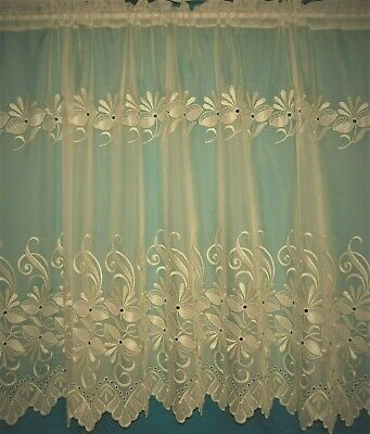 £3.80 • Buy Tanya Cream A Voile Plain With Embroidered Flower Mid Way And Base  Net Curtain