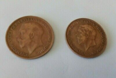£1.50 • Buy Pair Of GEORGE V One Penny Coins 1920 & 1936