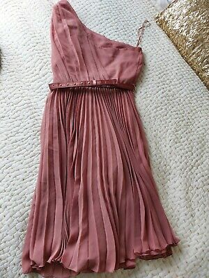£3.50 • Buy Mango Suit One Shoulder Dress With Pleated Skirt Size Small S 8-10 Muted Pink
