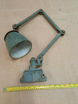 £27 • Buy Vintage Industrial Machinist Lamp Articulating, Angle-poise Type Enamel Shade