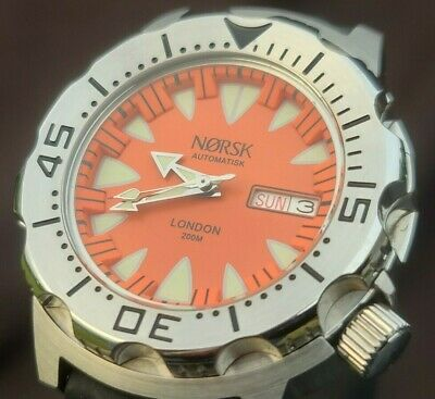 $ CDN72 • Buy Automatic Sea Monster Watch, Norsk, Norway, Diver, Seiko NH36a Movement. Orange