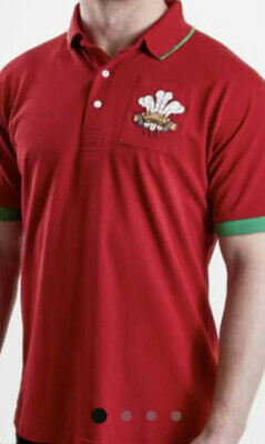 £10.75 • Buy Wales 2019/20 Vintage Short Sleeve Rugby Polo Shirt Size Is Medium