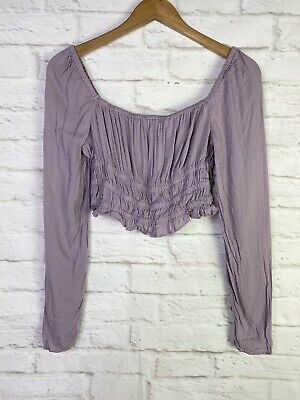 AU20.04 • Buy Urban Outfitters Purple Crop Top Long Sleeve Smocked Size S