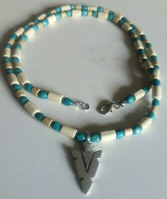 £5.70 • Buy Native American Style Spear Head Necklace Wooden Oval Blue Beads &tube Beads.new