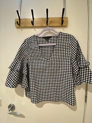 AU8 • Buy Forever New Gingham Print Top With Statement Sleeves, Size 6