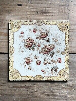£9.99 • Buy Reclaimed Victorian / Edwardian Victorian Fireplace Hearth Tile - Bedroom Floral