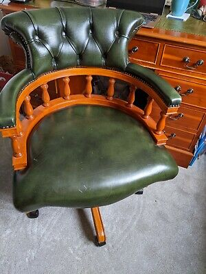 £237 • Buy Chesterfield Captains Antique Green Desk Chair