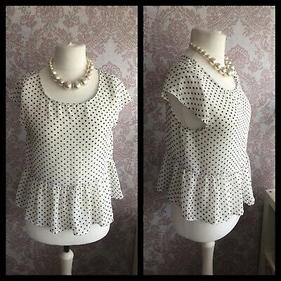 AU2.75 • Buy PINS AND NEEDLES (Urban Outfitters) Polka Dot Peplum Top Size Small UK 10-12