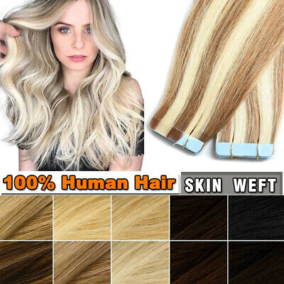 £57.27 • Buy UK HOT Russian Seamless Tape In 100% Real Remy Human Hair Extensions Skin Weft