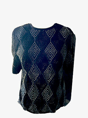 £25 • Buy After Six By Ronald Joyce London Ltd. Sparkling Beaded Top,Scallop Edging 16