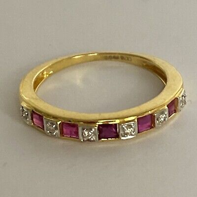 £135 • Buy New 9 Carat Yellow Gold Ring Ruby And Diamond Eternity Ring Size L