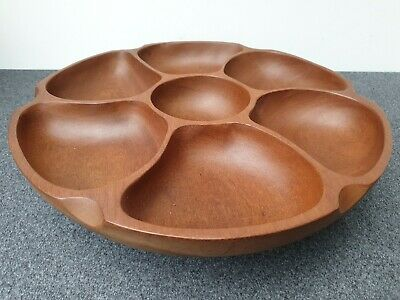 £22 • Buy Large Vintage 70s Teak Wooden Spinning Lazy Susan Retro Serving Party Nibbles