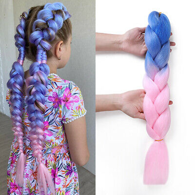 £0.55 • Buy Real Natural Hair Extensions Piece Brading Jumbo Braid Twist Pink Ombre Pigtail