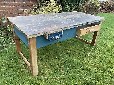 £135 • Buy Vintage School Laboratory Industrial Pine Coffee Table Turquoise Paint & Vices