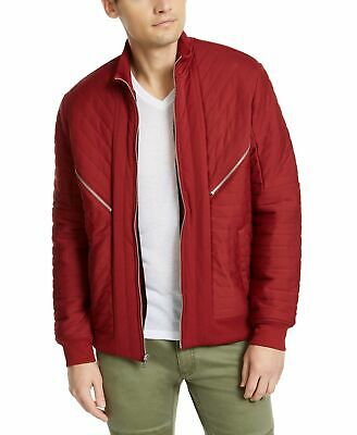 £4.34 • Buy INC Mens Jacket Apple Red Size Medium M Faux-Fur Lined Quilted Zip $99 #326
