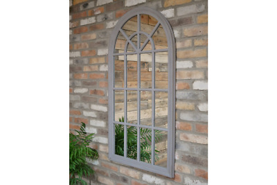 £120 • Buy Large Arched Grey Window Shape Arch Mirror Gothic 130cm Indoor Wall Mountable