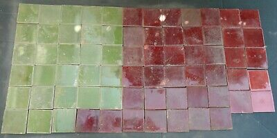 £35 • Buy Victorian/Edwardian Reclaimed Hearth Tiles - Red, Green & Pink - Collection Only