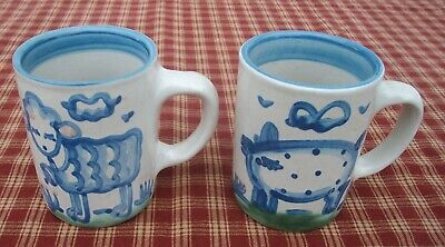 $19.99 • Buy ~Set Of 2 M.A. Hadley Pottery Coffee Cups~Lamb & Pig~Signed Mugs~The End~