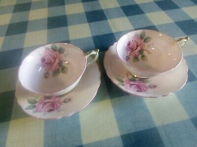 £39.99 • Buy Paragon Fine Bone China Cups Saucers Pink Roses