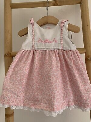 £4 • Buy Mayoral Spanish Style Baby Girl Embroidered Pink Bow Party Dress 6-9M