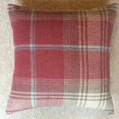 """£9.95 • Buy New 16""""x16"""" Cushion Cover Handmade In Next Stirling Check Red Beige Fabric Zip"""