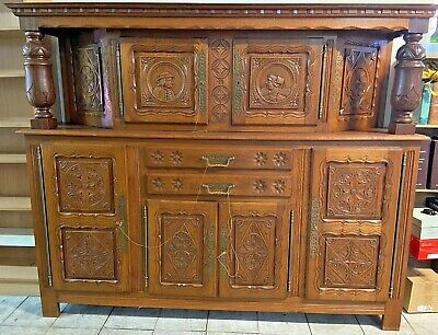 AU2100 • Buy Antique French Oak Sideboard Cabinet Buffet Cupboard Two Piece Rare Amazing