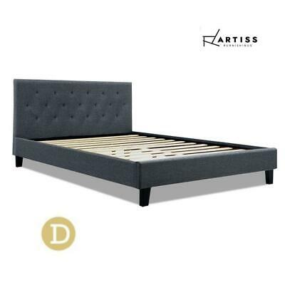 AU127.50 • Buy Artiss Bed Frame Double Full Size Base Mattress Fabric Wooden Charcoal