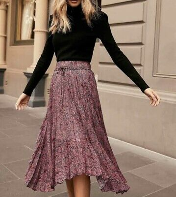 AU50 • Buy Forever New Alexis Pleated Georgette Midi Skirt Berry Snake Size 6