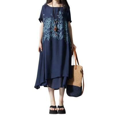 AU20.63 • Buy Summer Women Leaves Ink Print Retro Linen Casual Dresses O-Neck Clothes