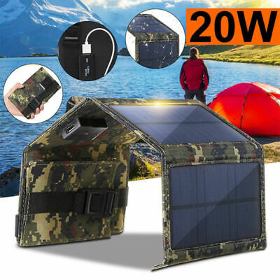 £17.39 • Buy 20W Solar Panel 4 Folding Portable Power Charger USB Camping Travel For Phone UK